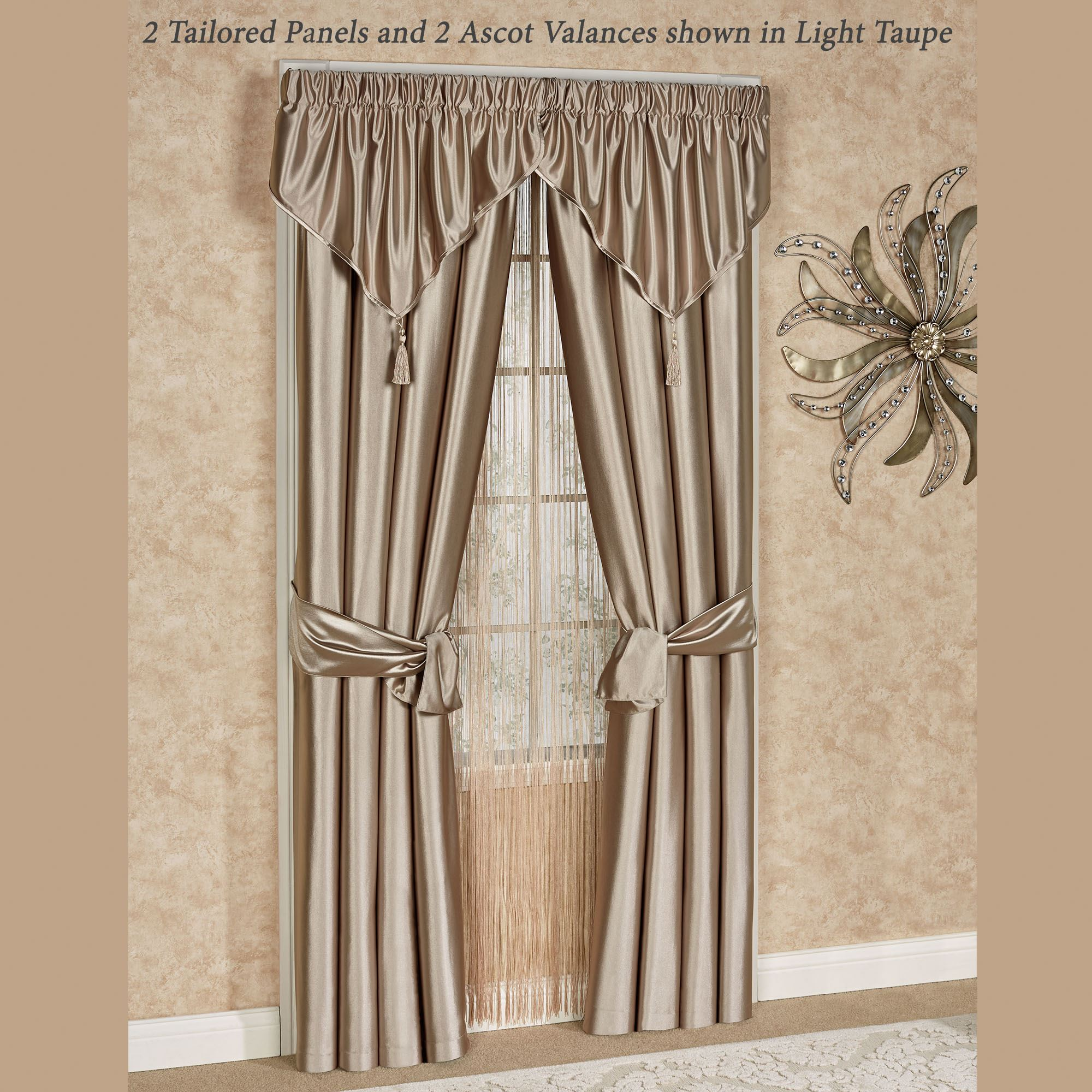 Shimmer Satin Ascot Valance Window Treatment