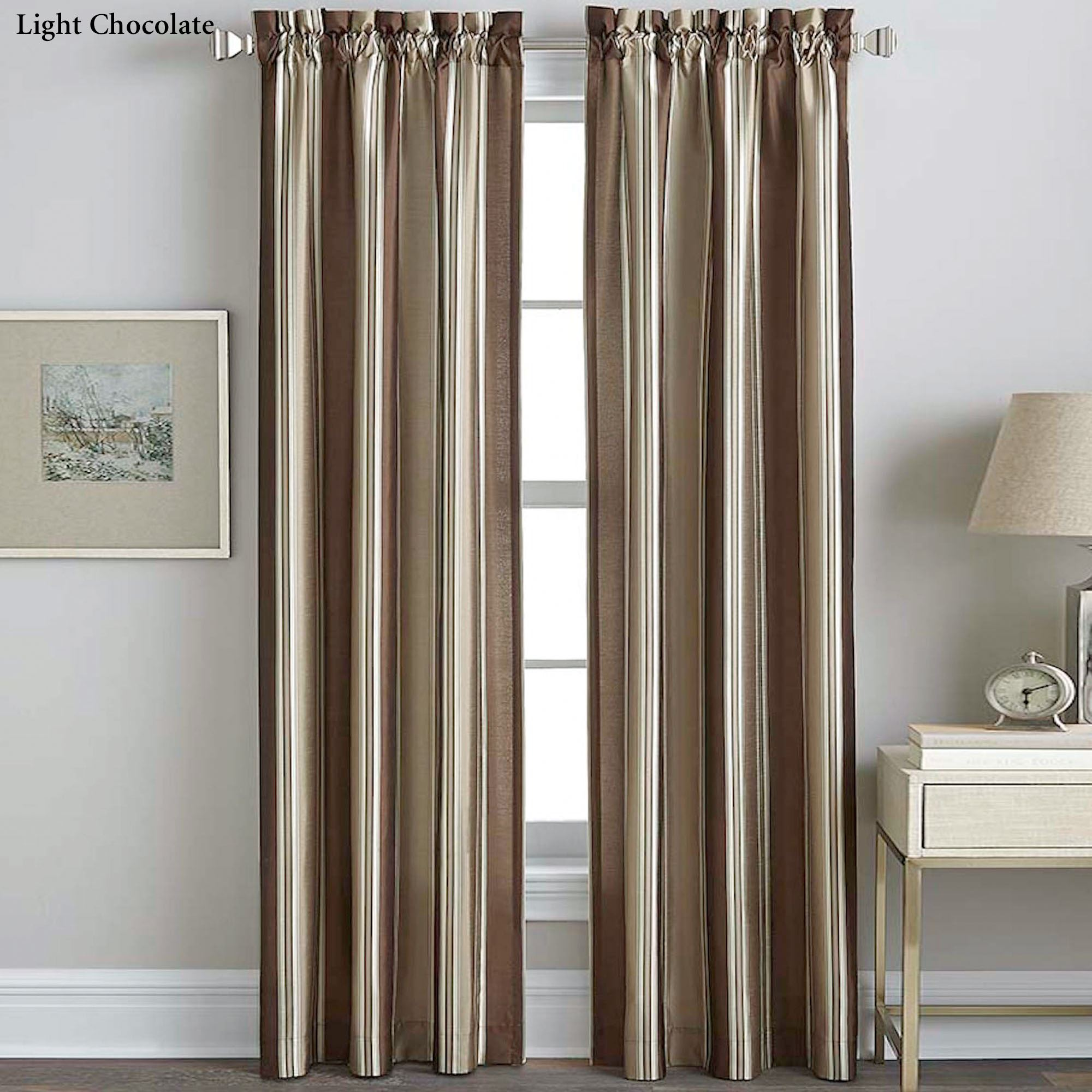 faux silk striped curtain panel