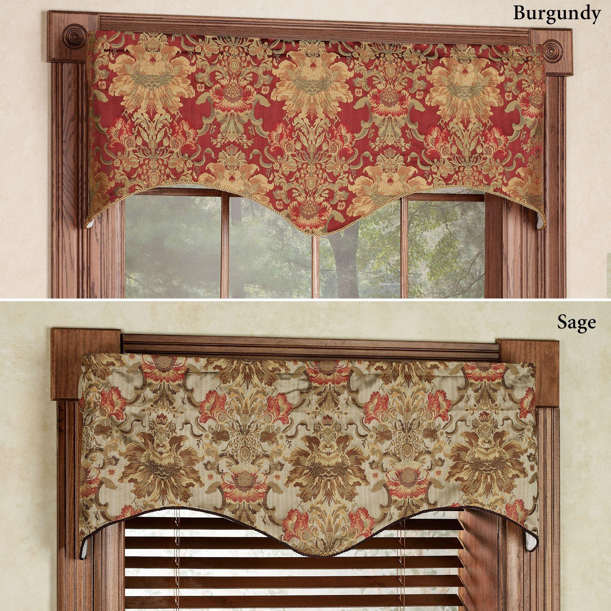 Como Tapestry Fabric Scalloped Window Valance