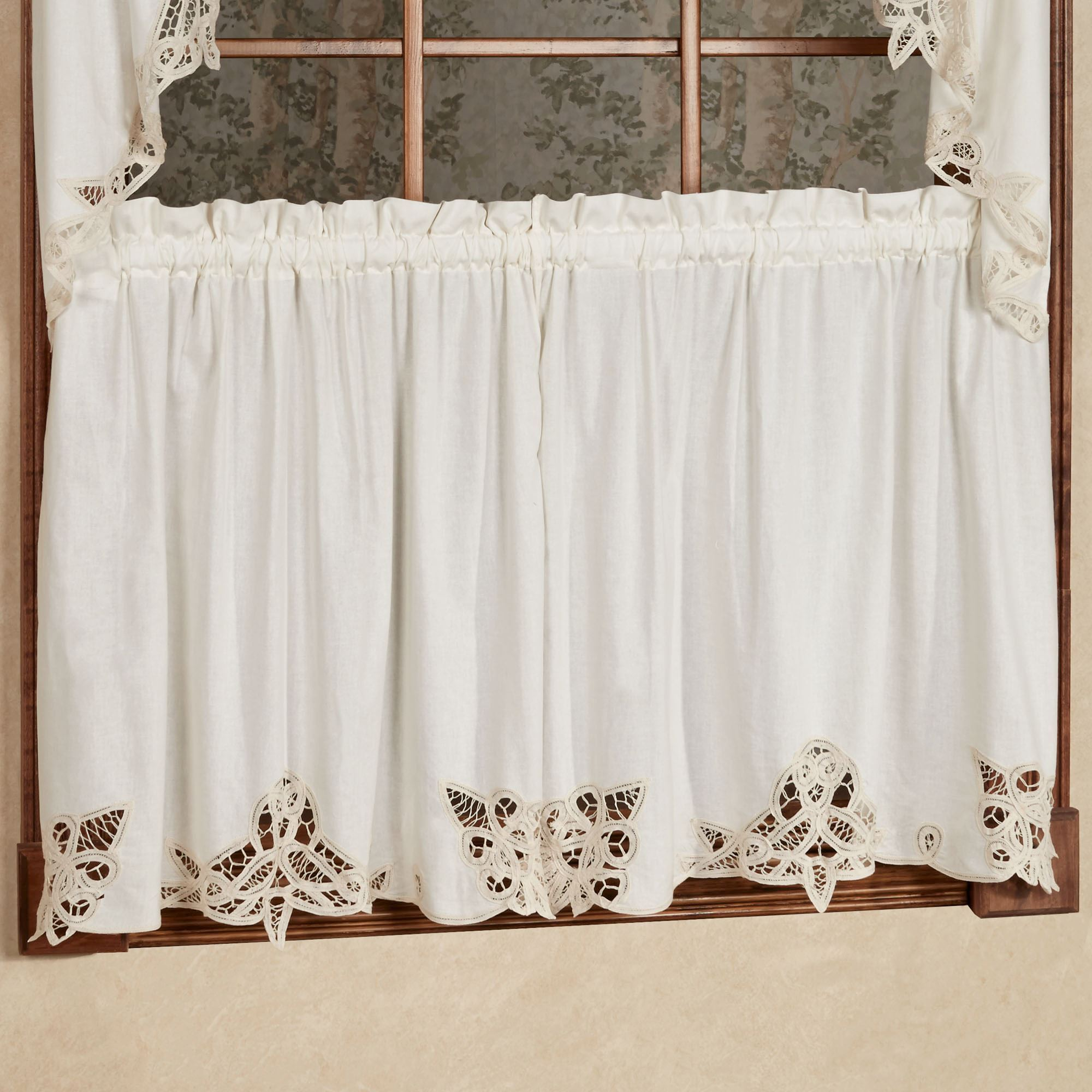 battenburg lace edge tier window treatment