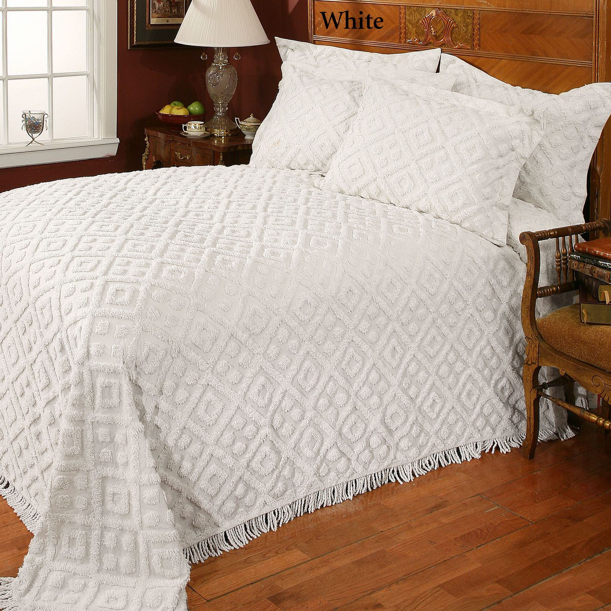diamond cotton chenille bedspread bedding
