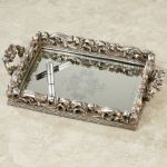 Elaine Antique Silver Mirrored Vanity Tray