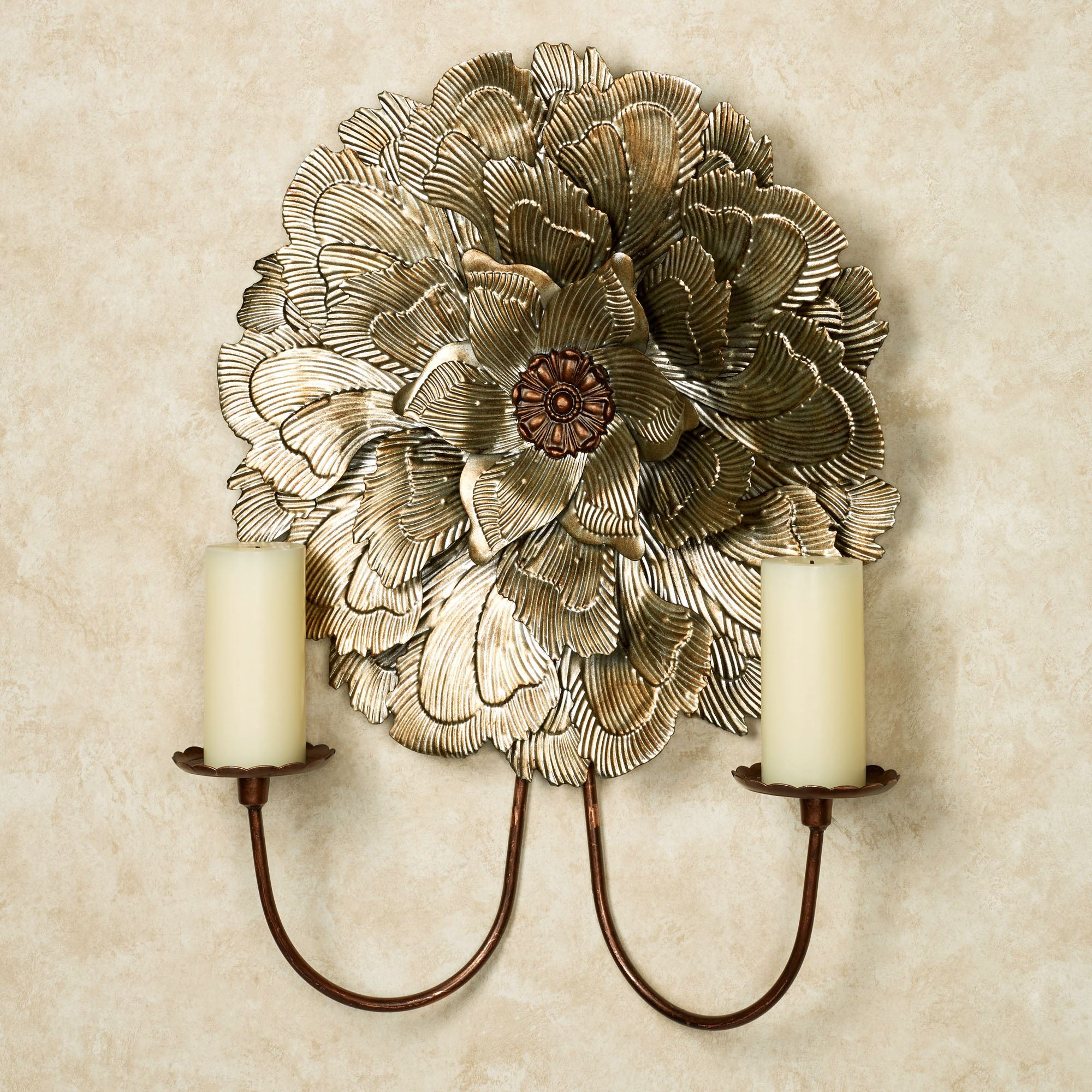 Delicate Flower Blossom Double Wall Sconce on Wall Sconces With Flowers id=79701