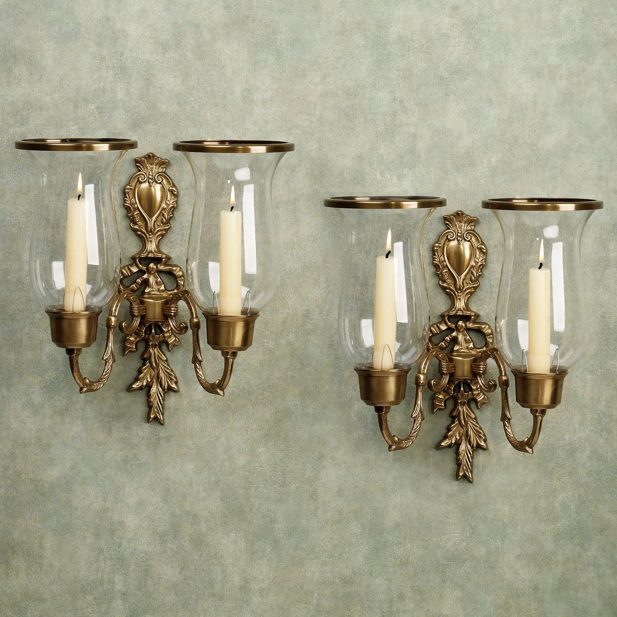 Nerissa Antique Brass Double Wall Sconce Pair on Brass Wall Sconces Non Electric Lighting id=46860