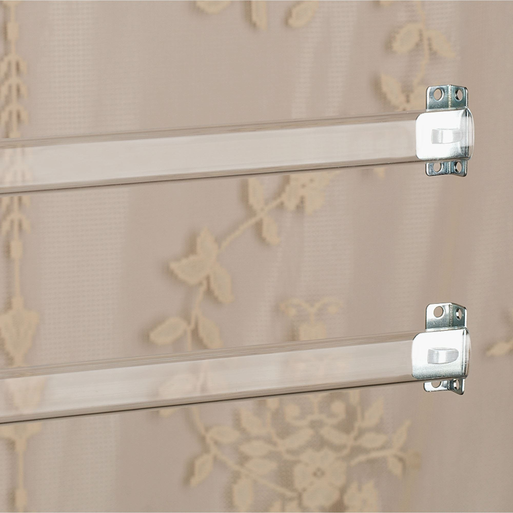 clear sash 12 to 36 wide curtain rod set of 2