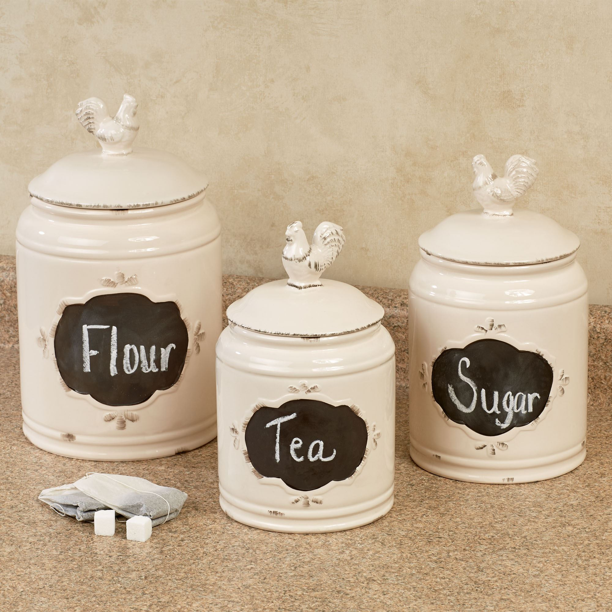 antique rooster kitchen canisters white set of three click to expand