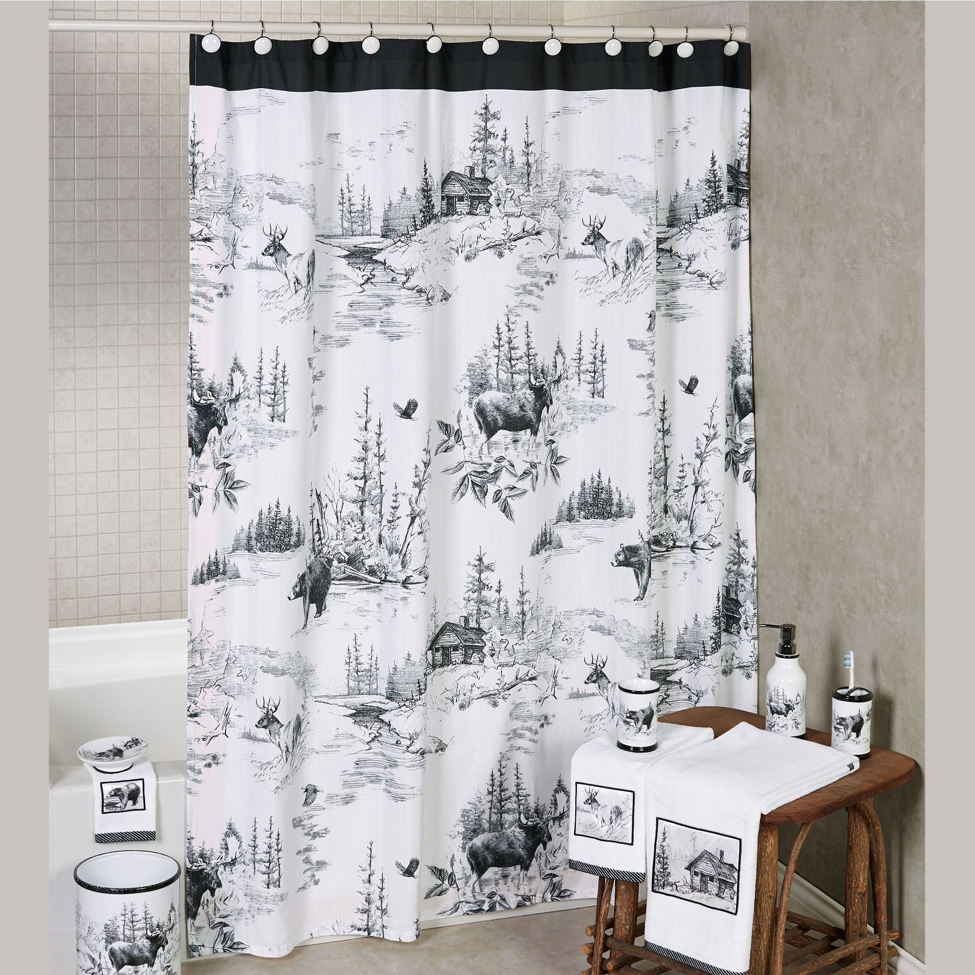 Sketches Rustic Cabin Wildlife Shower Curtain By Hautman Brothers