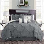 Callie Dark Gray Pintuck 7 Pc Comforter Bed Set