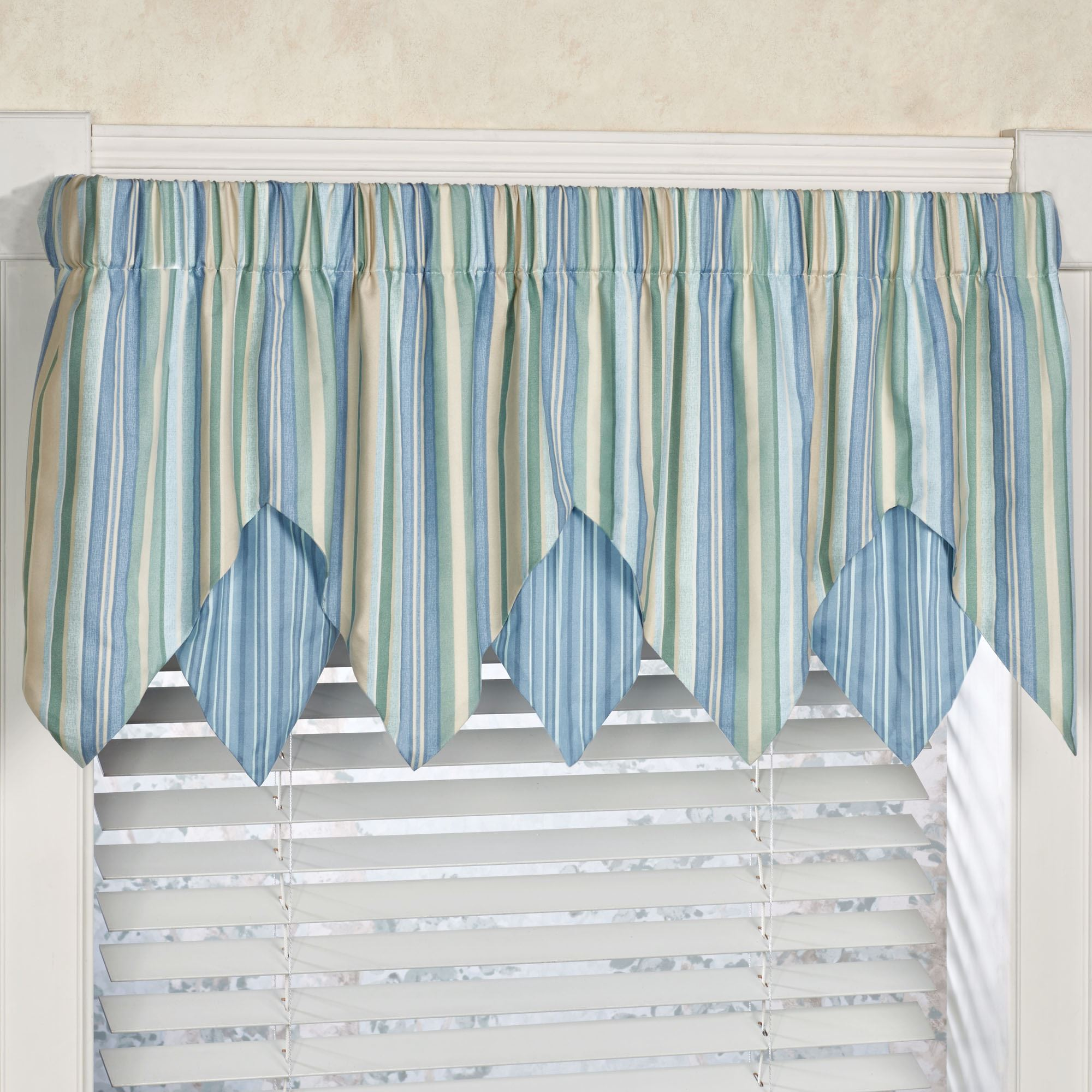 Clearwater Coastal Striped Ascot Window Treatment