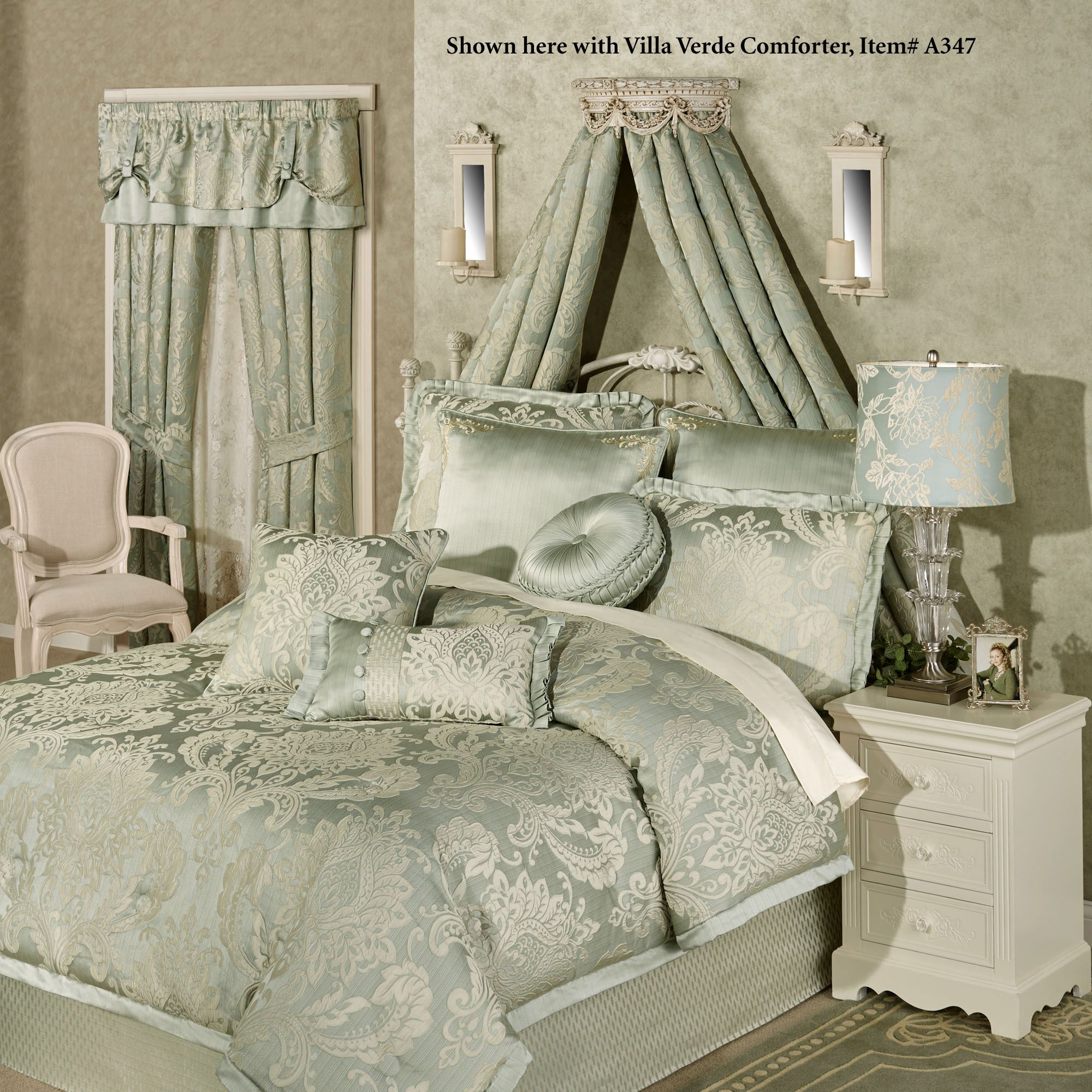 Swag and Bow Light Gold Wall Teester Bed Crown on Wall Teester Bed Crown  id=79855