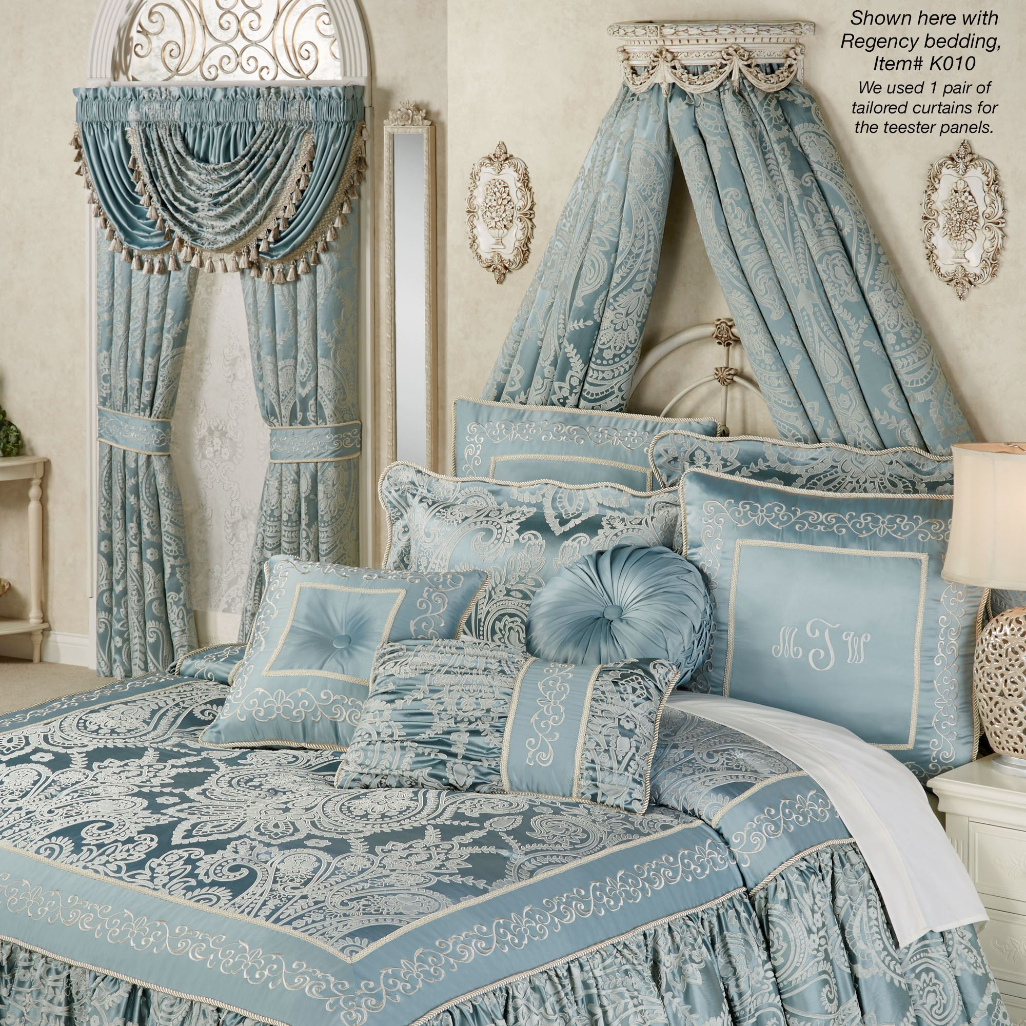 Swag and Bow Old World White Wall Teester Bed Crown on Wall Teester Bed Crown  id=97709
