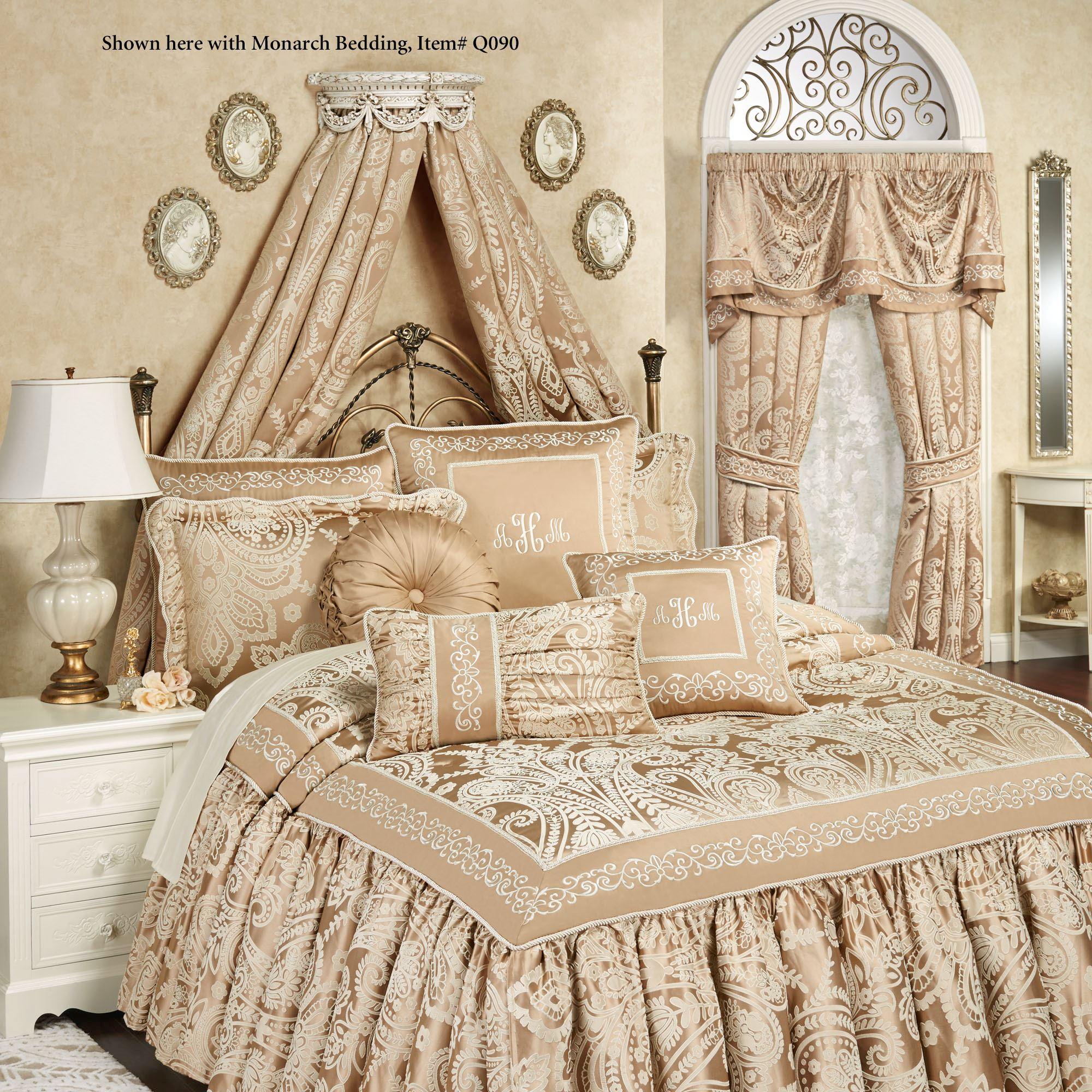 Swag and Bow Old World White Wall Teester Bed Crown on Wall Teester Bed Crown  id=30050