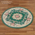 Serena Aubusson Ii Floral Wool Round Rugs