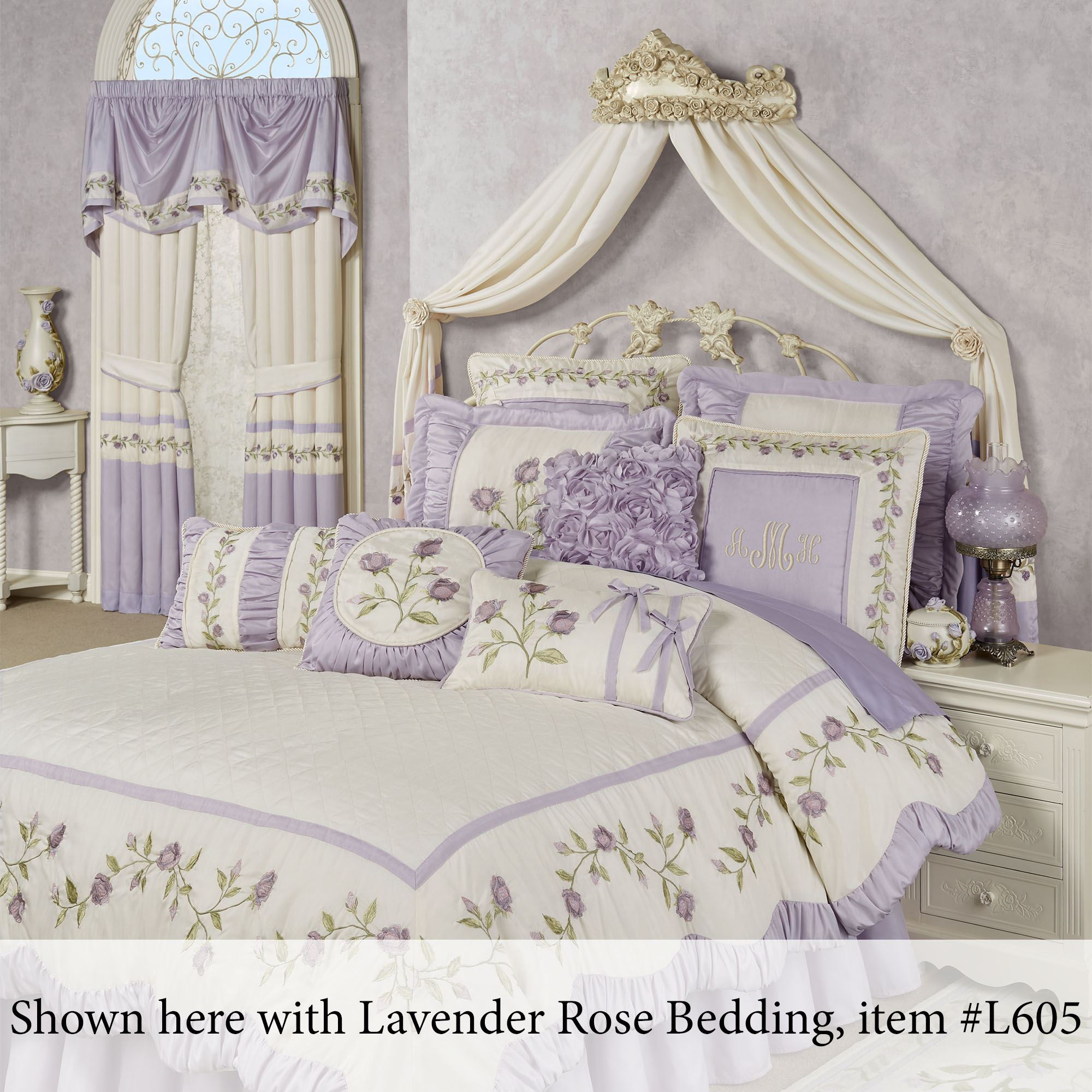 Victoria Rose Antique Ivory Wall Teester Bed Crown on Wall Teester Bed Crown  id=70081