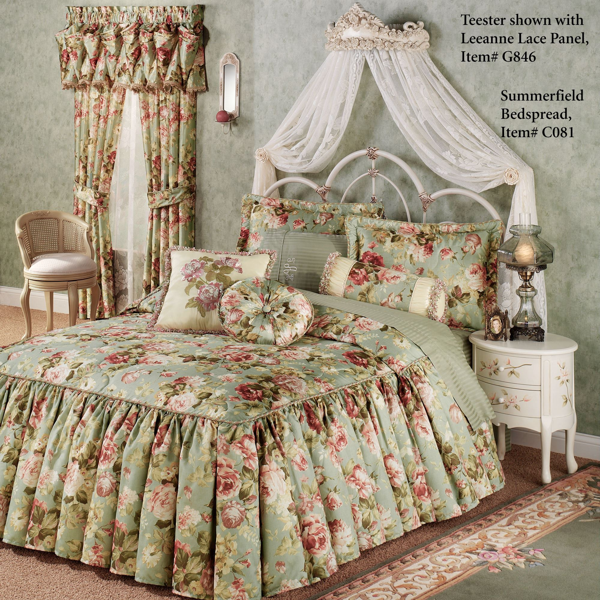 Victoria Rose Antique Ivory Wall Teester Bed Crown on Wall Teester Bed Crown  id=30204