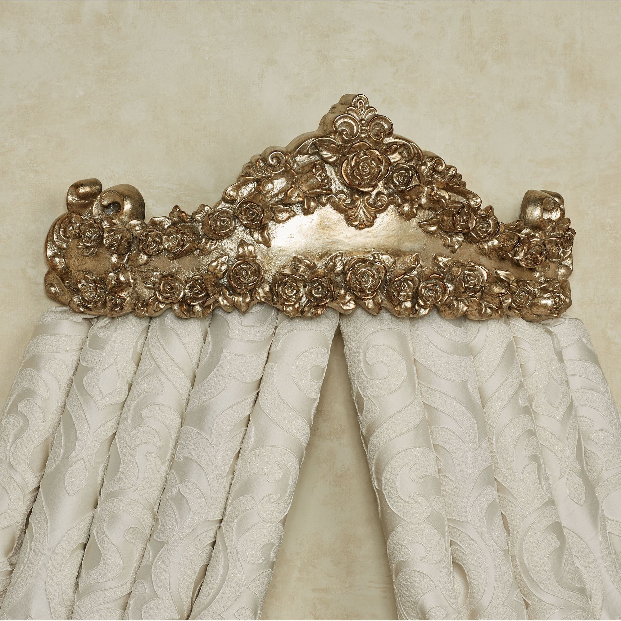 Victoria Rose Antique Gold Wall Teester Bed Crown on Wall Teester Bed Crown  id=52230