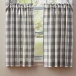 Wicklow Gray Buffalo Check Tier Window Treatment