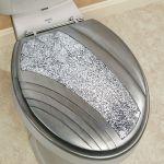 Brilliance Mosaic Silver Gray Elongated Toilet Seat