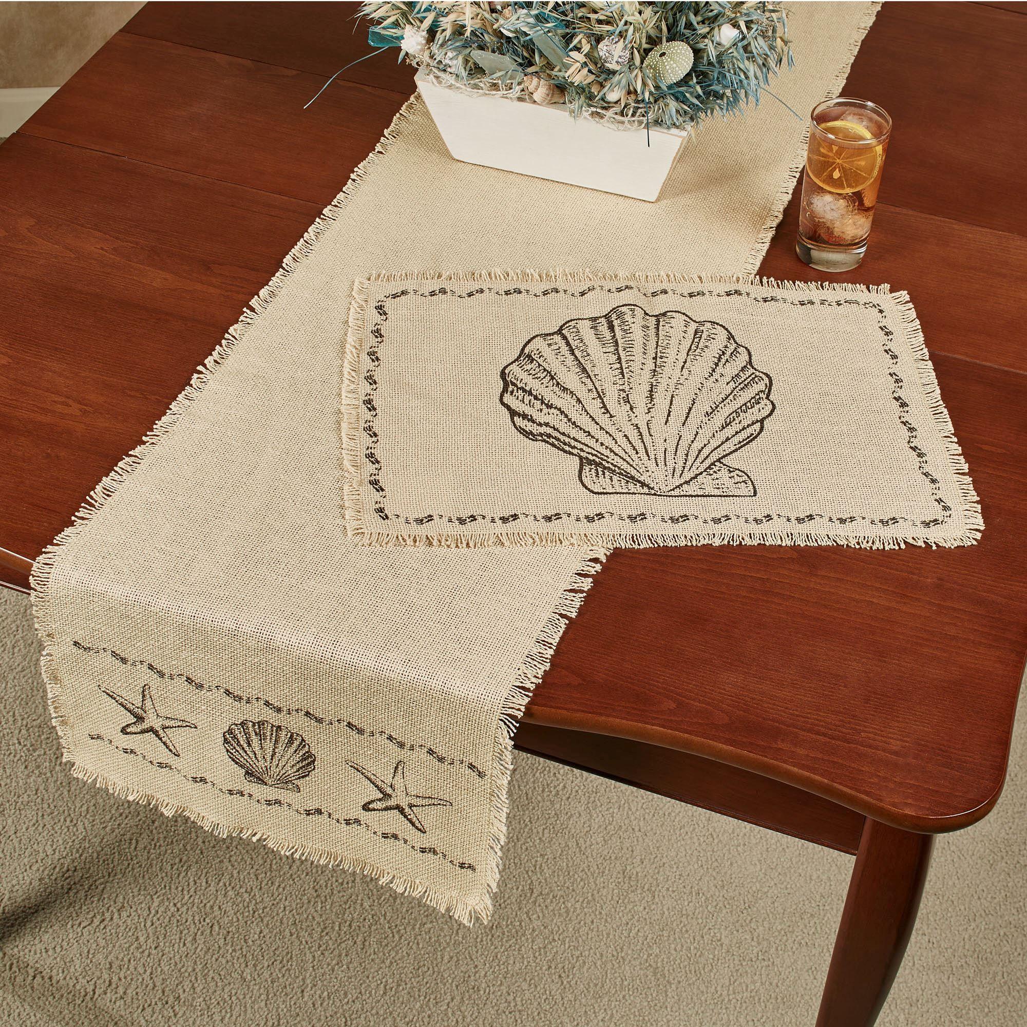 Seashore Cream Seashell Coastal Table Linens