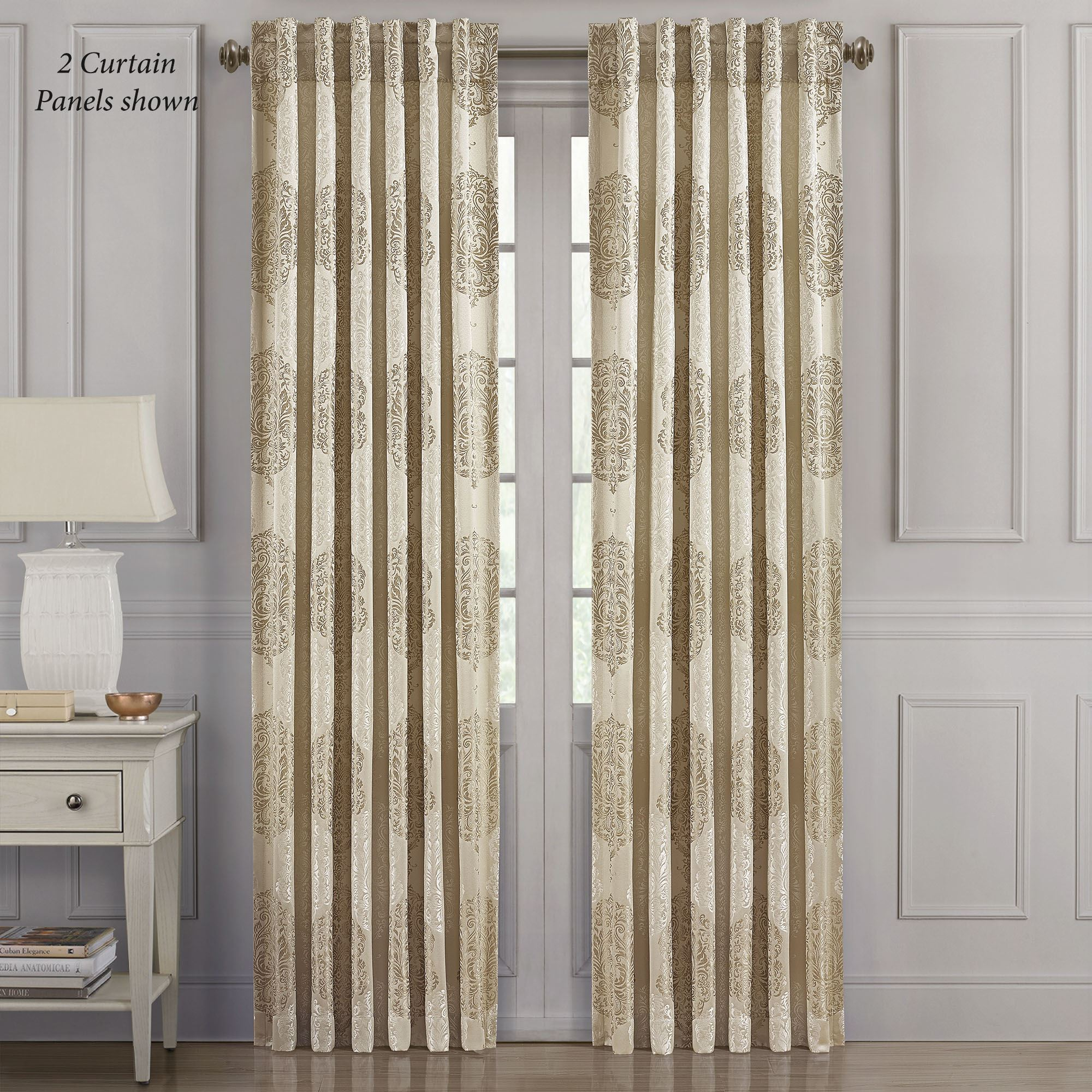 declan gold damask lined curtain panel