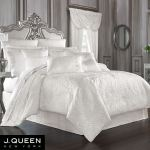 Bianco Puff Jacquard Solid White Comforter Bedding By J Queen New York