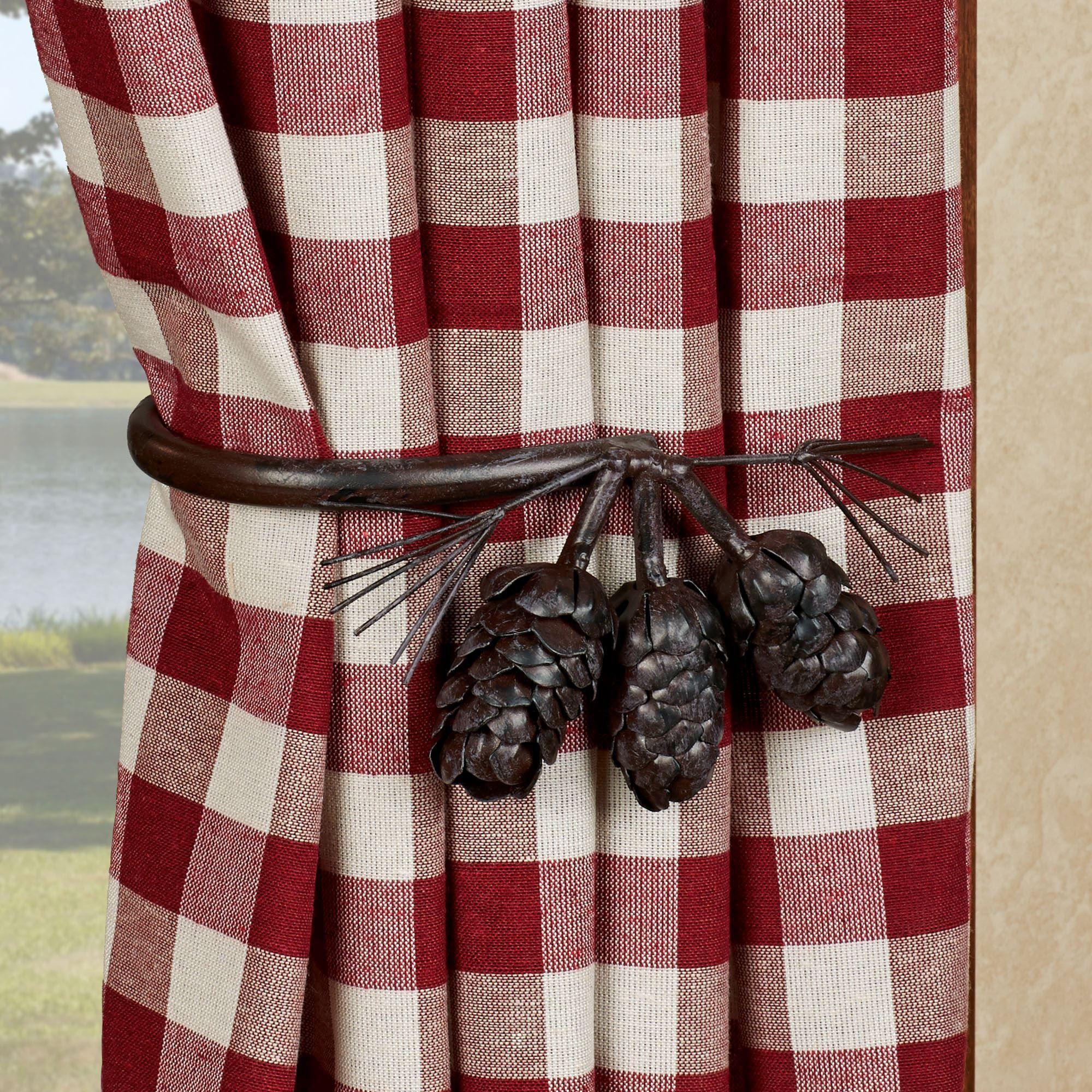 pine cone decorative curtain holdback pair