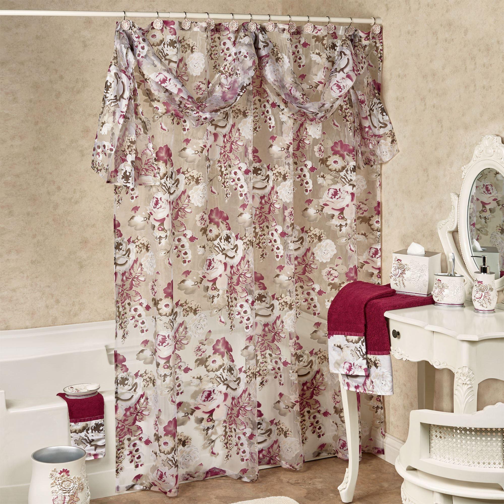 secret garden semi sheer floral shower curtain