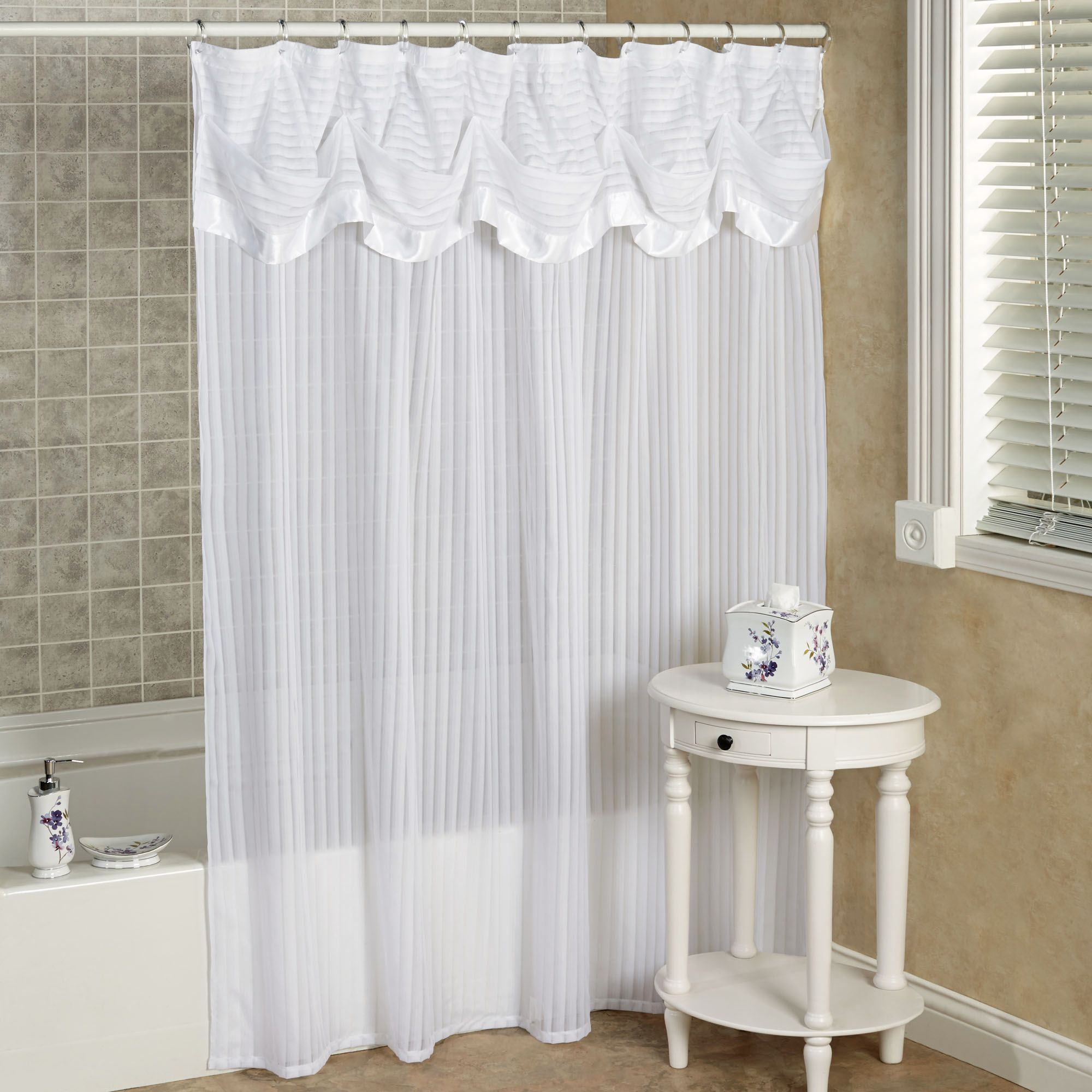 Nimbus Stripe Shower Curtain With Attached Valance