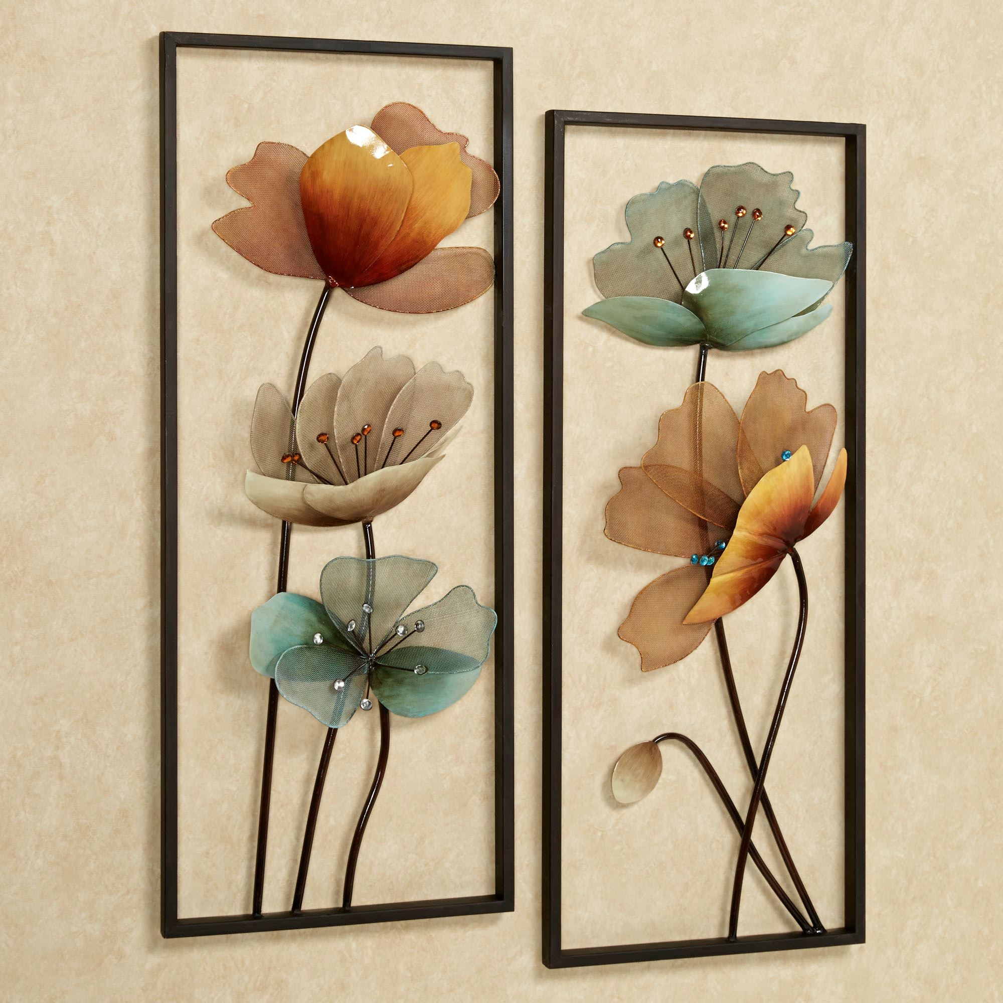 Tuscany in Bloom Floral Metal Wall Art Set on Hanging Wall Sconces For Flowers id=81942