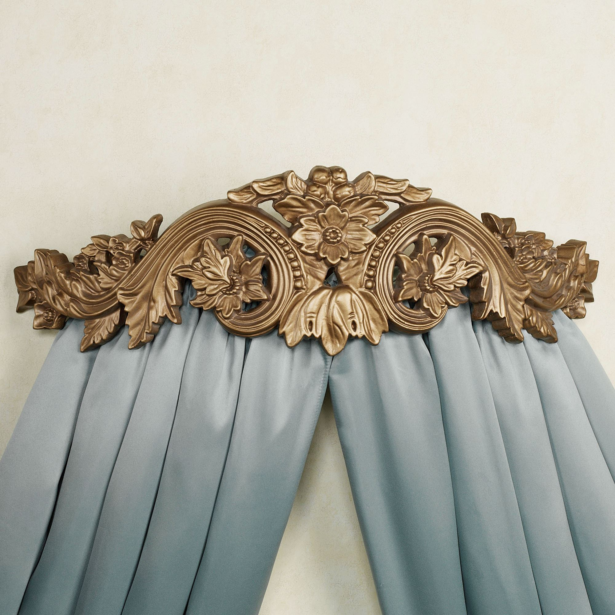 Flowering Medallion Aged Gold Wall Teester Bed Crown on Wall Teester Bed Crown  id=65823