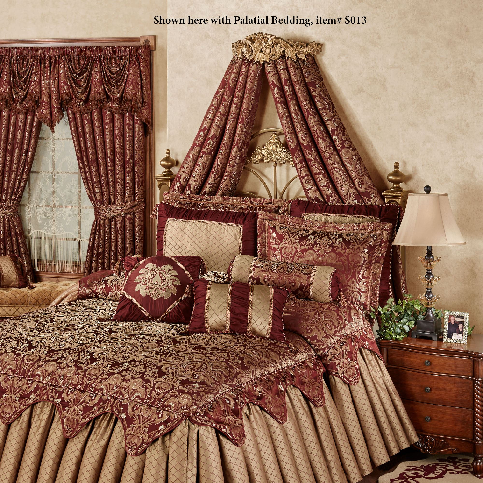 Flowering Medallion Aged Gold Wall Teester Bed Crown on Wall Teester Bed Crown  id=85501