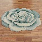 Rosemarie Teal Blue Flower Shaped Rugs