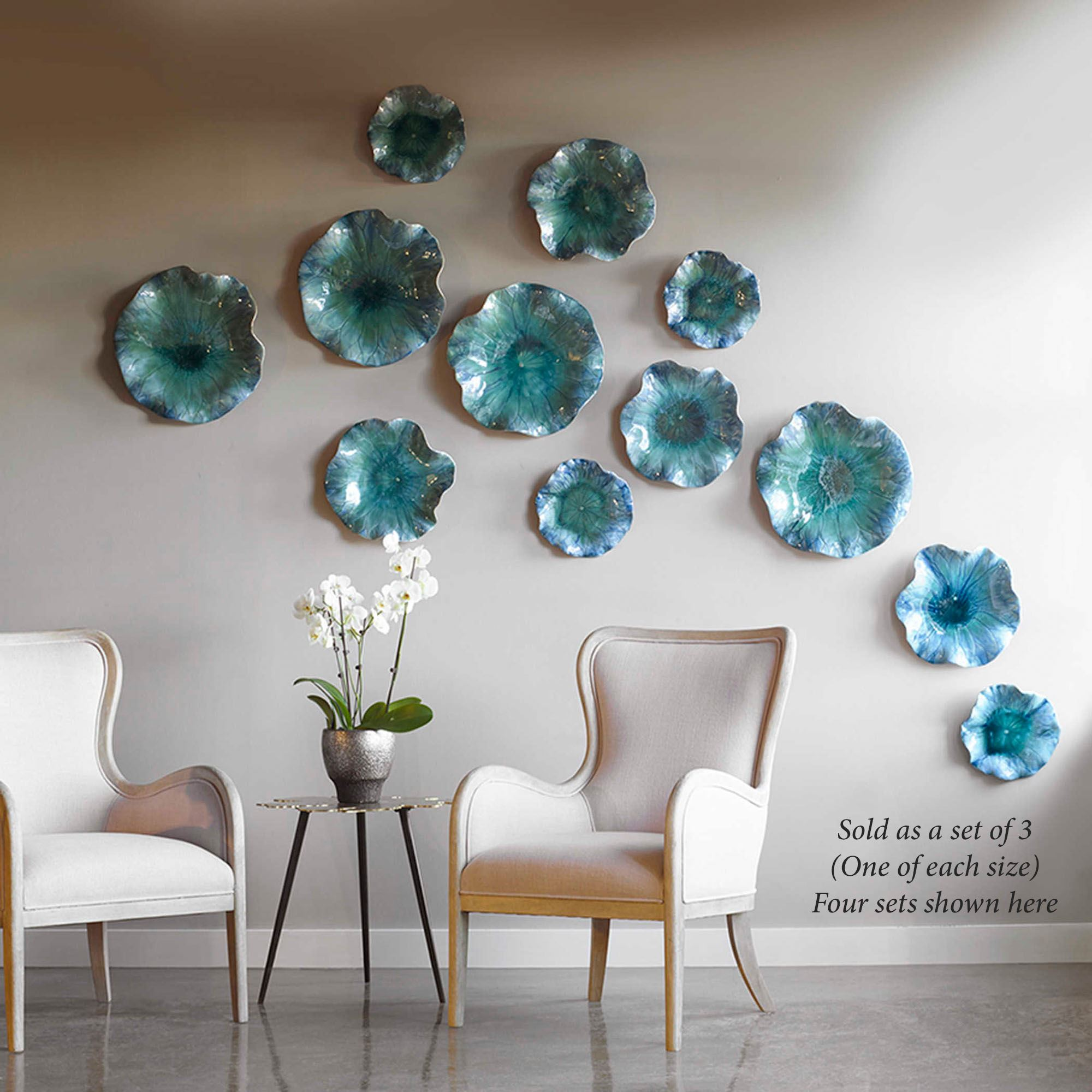 Abella Blue Ceramic Abstract Flower Art Set for Wall or Table on Hanging Wall Sconces For Flowers id=91263