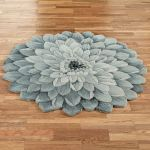 Abby Bloom Blue Flower Shaped Rugs