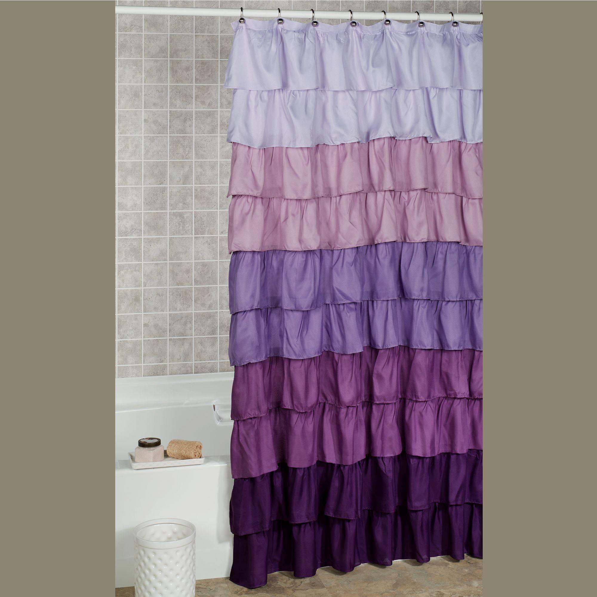 maribella lavender ombre ruffled shower curtain