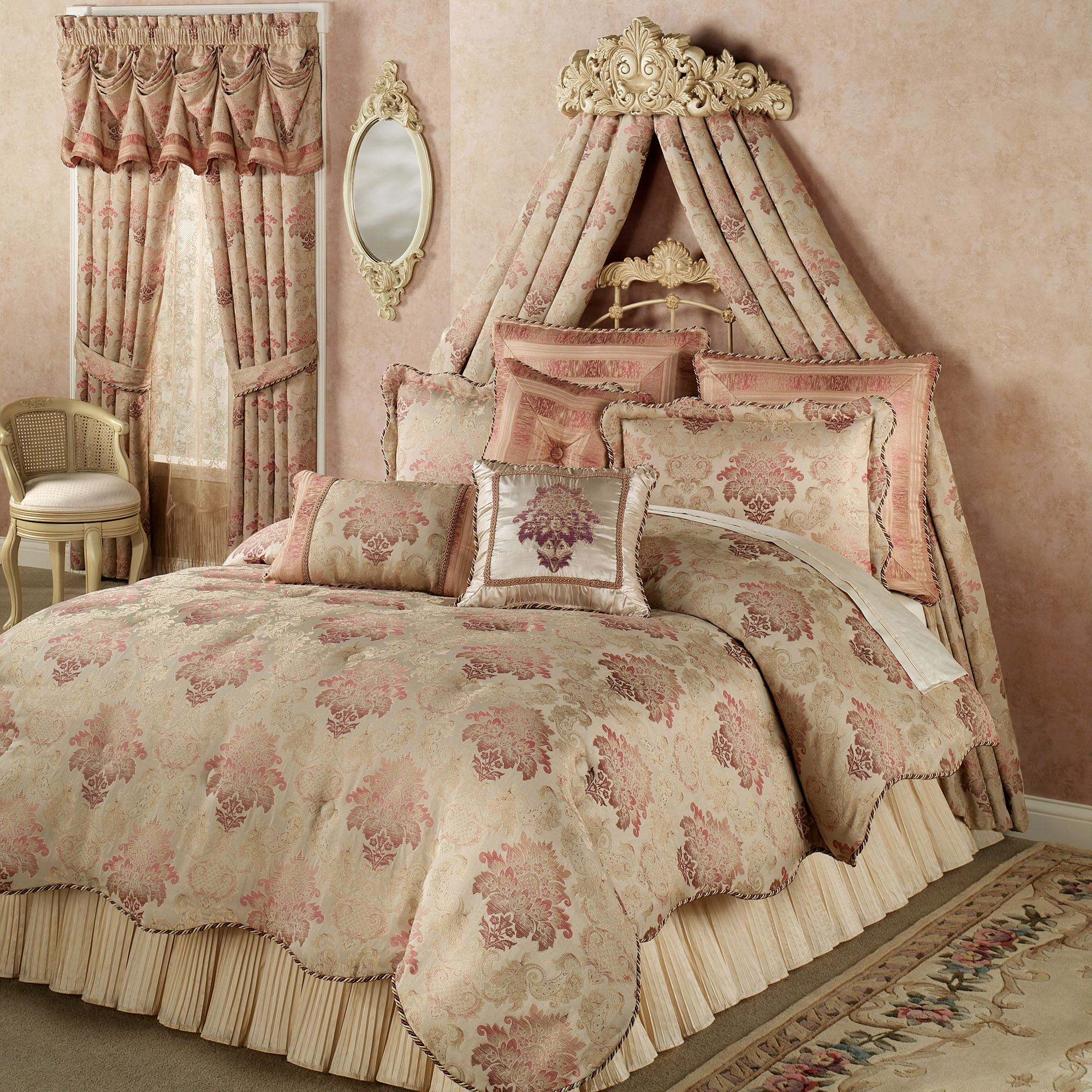 Natasha Antique Ivory Wall Teester Bed Crown on Wall Teester Bed Crown  id=83941