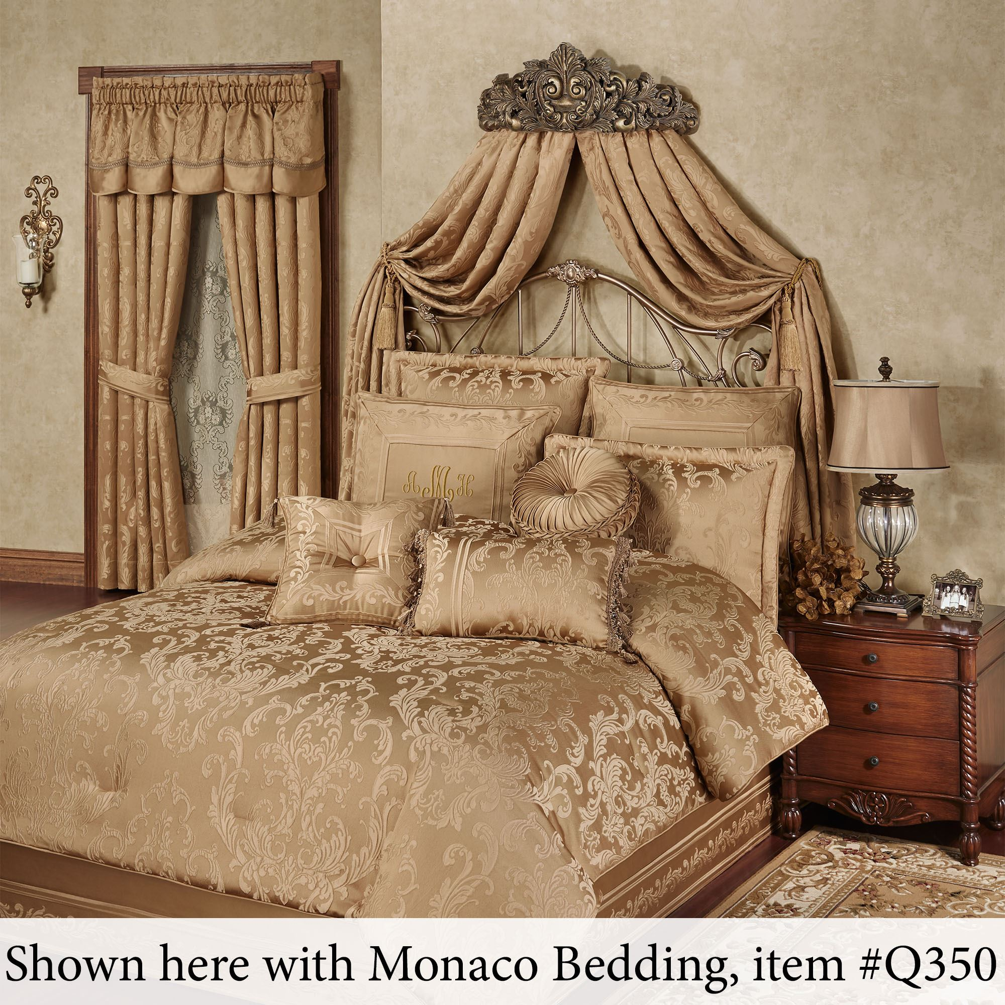 Natasha Antique Gold Wall Teester Bed Crown on Wall Teester Bed Crown  id=75582