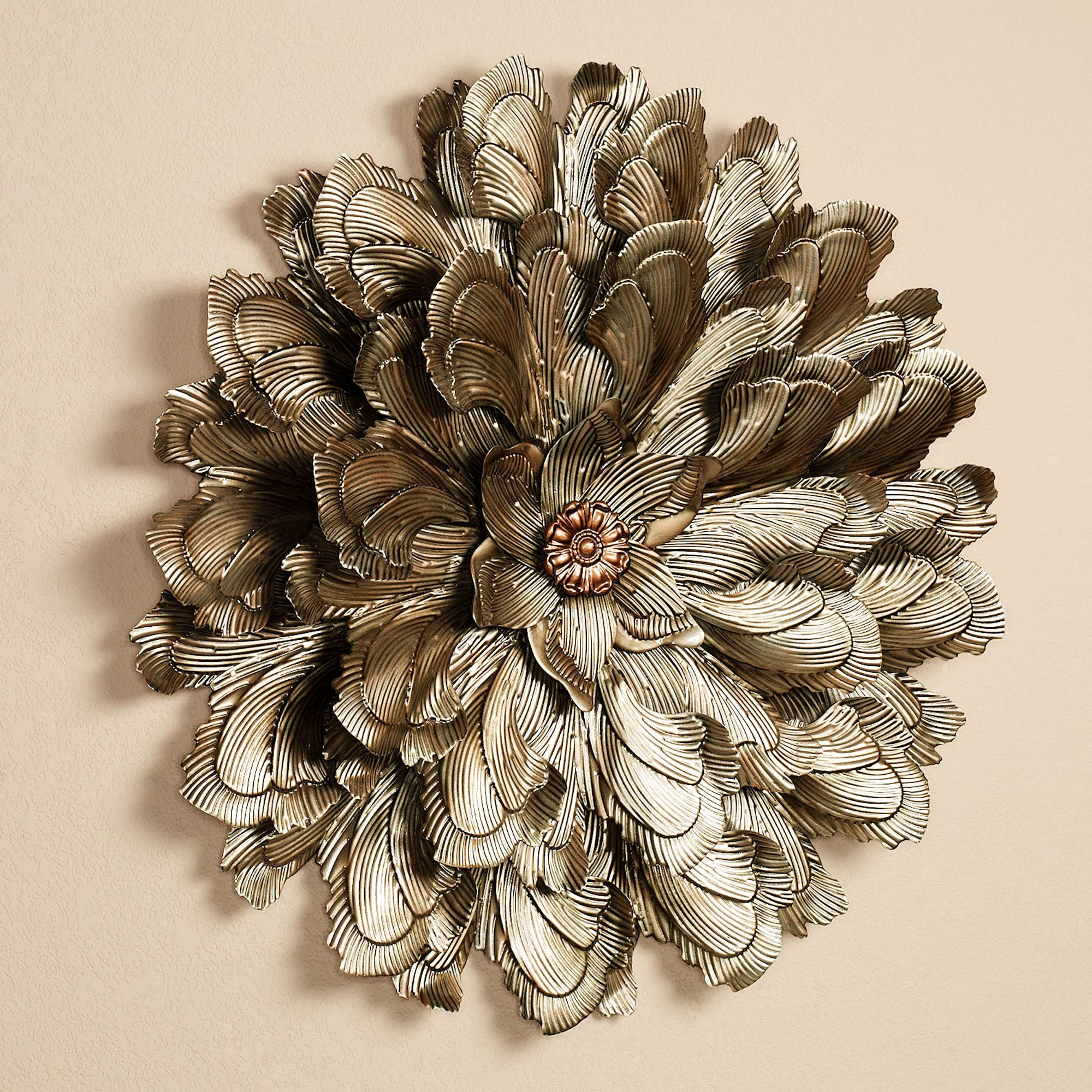 Delicate Flower Blossom Metal Wall Sculpture on Hanging Wall Sconces For Flowers id=89450
