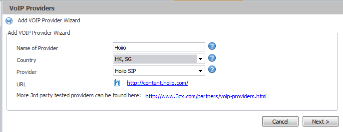 Configuring Hoiio SIP provider to work with 3CX Phone System