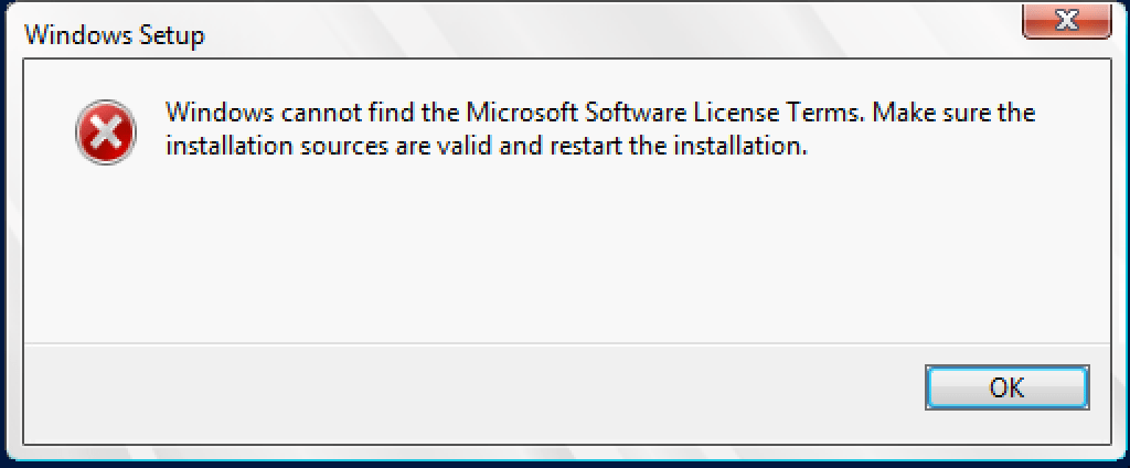 Fixing 'Windows cannot find the Microsoft Software License Terms