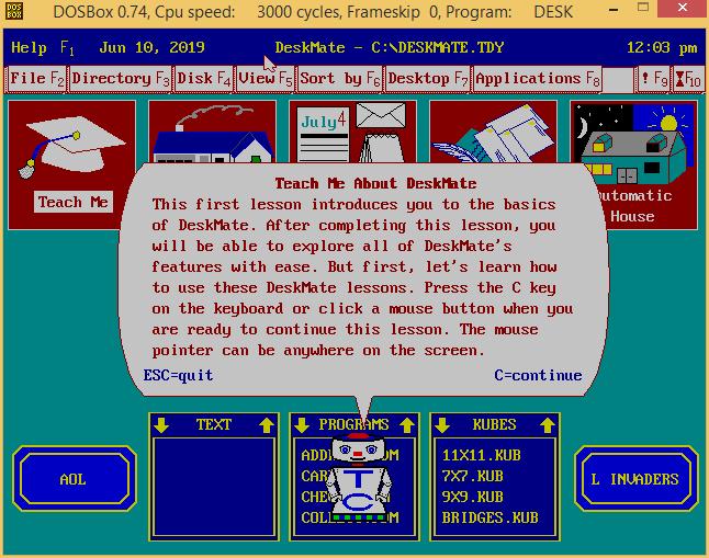 Exploring Tandy Deskmate on DOSBox v0 7 4 | ToughDev