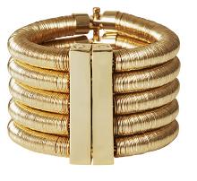 Bracelet manchette doré aimanté en laiton et métal