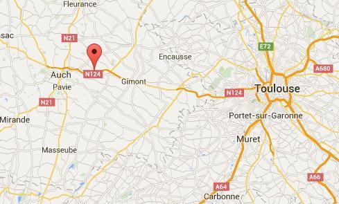 L'accident qui a coûté la ville à filette de 6 ans a eu lieu sur la RN124 à hauteur de Marsan Photo (c) Google Maps