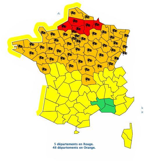 Vent Violent, neige et Verglas 5 départements en alerte météo vigilance Rouge
