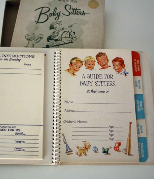 baby sitter guide book inside cover page