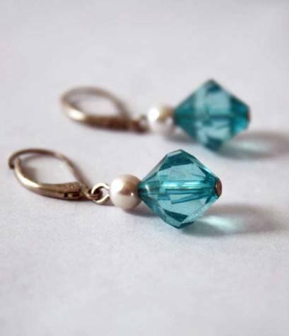 vintage blue crystal and pearl drop earrings