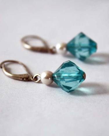 vintage blue crystal and pearl drop earrings