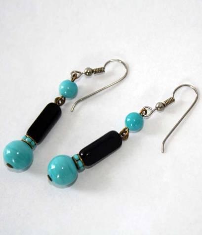 vintage glass bead dangle earrings