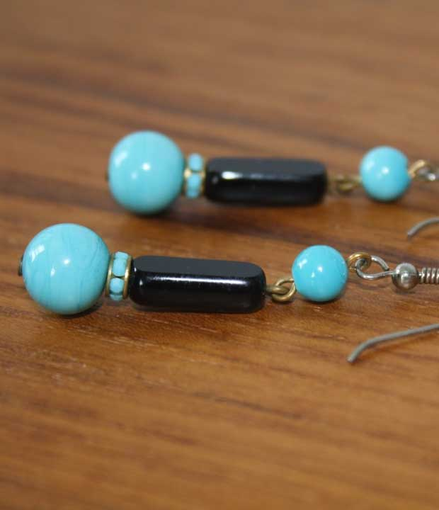 vintage dangle earrings with turquoise and black glass beads