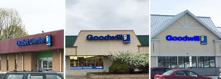 Three Goodwill store fronts